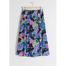 Floral Pleated A-Line Midi Skirt - Blue