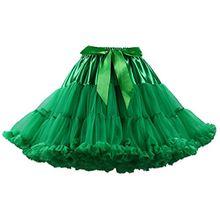 Tütü Damen Tüllrock Mädchen Ballet Tutu Rock Petticoat Unterrock Ballett Kostüm Tüll Röcke überlagerte Rüsche Festliche Tütüs Erwachsene Pettiskirt Ballerina Für Dirndl Weihnachts Grün