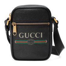 Schultertasche aus Leder mit Gucci Print
