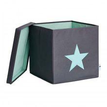 Aufbewahrungsbox mit Deckel Stern grau/mint