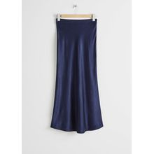 Flowy Satin Midi Skirt - Blue