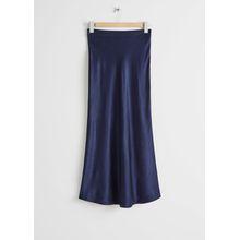 Flowy Satin Midi Skirt - Blue