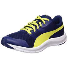 Puma Unisex-Kinder Flexracer Jr Sneaker, Blau (Blue Depths-NRGY Yellow), 37.5 EU