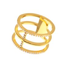 Ring Trible Line, 18 K Gelbgold vergoldet
