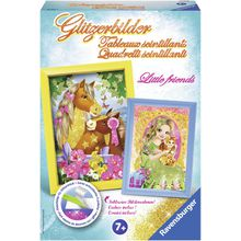 Ravensburger Kreativset »Glitzerbilder Little Friends«, (Set), Inklusive Rahmen