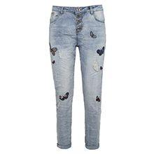 Rock Angel Damen Boyfriend Fit Jeans ROSIE mit Schmetterling-Patches im leichtem Destroyed Look blue M