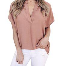 KEERADS T-Shirt Damen Sommer Kurzarm V-Ausschnitt Crop Tops Oberteile Bluse (L, Rosa)