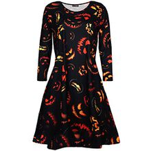 Oops Outlet Damen Schädel Schmuck unheimlich Pumpkin Halloween Kostüm Kittel Swing Kleid - unheimlich Pumpkin schwarz, Plus Size (UK 20/22)