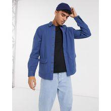 ASOS DESIGN – Strukturierte Hemdjacke mit Taschen in Blau-Violett