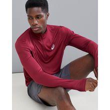 Asics Running - Sweatshirt mit 1/4-Reißverschluss in Burgunderrot - Rot