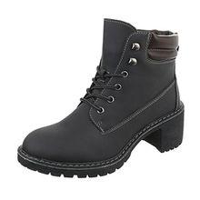 Ital-Design Schnürstiefeletten Damen-Schuhe Schnürstiefeletten Blockabsatz Schnürer Schnürsenkel Stiefeletten Schwarz, Gr 39, 3338-
