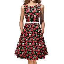 LUOUSE Damen 1950 50er Vintage Rockabilly Party Kleider Abendkleider Cocktailkleid,Strawberry,L