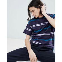 Carhartt WIP - Kress - Gestreiftes, marineblaues T-Shirt - Navy