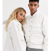 COLLUSION – Unisex – Utility-Jacke mit mehreren Taschen-Weiß
