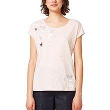 edc by ESPRIT Damen T-Shirt 048CC1K099, Mehrfarbig (Light Pink 690), X-Small