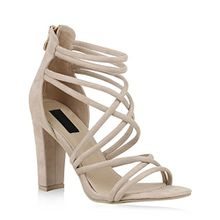 Stiefelparadies Damen Sandaletten High Heels Party Schuhe Riemchensandaletten 153756 Creme 37 Flandell