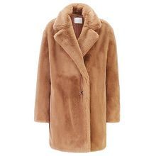 Zweireihiger Oversized Mantel aus Kunstfell