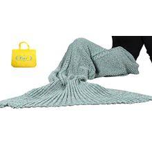 Mermaid Tail Deckenhaken Yier® Erwachsene Teens Wohnzimmer Sofa Super Soft Decken Schlafsäcke-grau grün