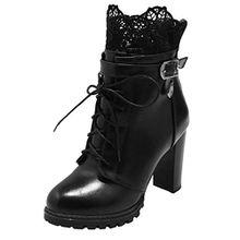AIYOUMEI Damen Blockabsatz High Heels Ankle Boots Stiefeletten mit Schnürung und Spitze Klassischer Stiefel