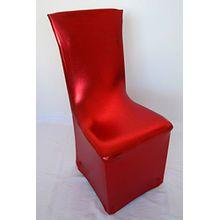 Stuhlhusse Stretch Metallic in ROT Weihnachten imprägniert wasserabweisend Stretchhusse Premium abwischbar bügelfrei universell für gerade oder runde Stuhllehnen Stuhlhussen