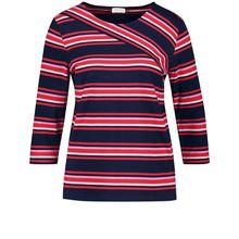 Gerry Weber T-Shirt 3/4 Arm 3/4 Arm Shirt mit asymmetrischem Ringel rot/weiß Damen