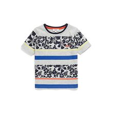 Kids-T-Shirt aus Baumwolle mit Hibiskus-Print und Streifen
