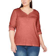 Ulla Popken Große Größen Damen Langarmshirt Shirt Oil Dyed mit Knopfleiste Rot (Pink 55), 46