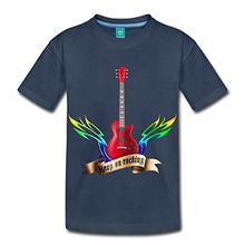 Spreadshirt Guitars And Wings Keep On Rocking Gitarre Kinder Premium T-Shirt, 122/128 (6 Jahre), Navy