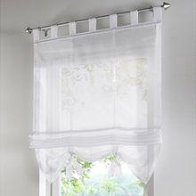 Souarts Weiß Transparent Gardine Vorhang Raffgardinen Raffrollo Schlaufenschal Deko für Wohnzimmer Schlafzimmer Studierzimmer 120x155cm