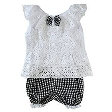 Silvercell Baby-Spitze Tops Hohl Ruffle Shirt-Weste-Plaid Shorts Outfits Sets