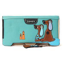 Mineroad Damen Hund Muster Large Geldbörse Geldbeutel PU Leder Kleingeldfach Portemonnaie Brieftasche Blau One size