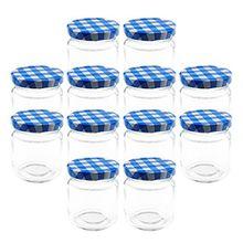 12 Einmachgläser mit Schraubdeckel - 100 ml, Glas / Metall, 5,5 x 7 cm (ØxH), 12 blau karierte Deckel