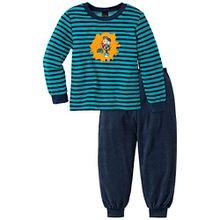 Schiesser Jungen Zweiteiliger Schlafanzug Jolly Leroy Kn lang, Gr. 128, Blau (dunkelblau 803)