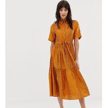 Mango - Kleid mit geschnürter Taille, Knopfleiste vorn und Tierfellmuster - Orange