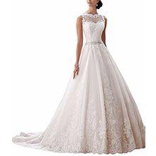Ever Love Damen Abendkleider Elegant Abschlussballkleider Bandeau Kleid Hochzeitskleid mit Stickerei Brautkleid Ivory40