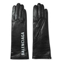 Balenciaga - Bedruckte Lederhandschuhe - Schwarz