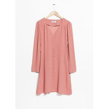 V-Neck Button Up Dress - Pink