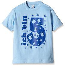 Coole-Fun-T-Shirts Jungen T-Shirt Ich Bin 5 Jahre!, Gr. One Size (Herstellergröße: 128cm/5 Jahre), Blau (Sky-Navy)