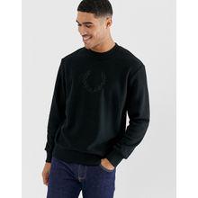 Fred Perry - Schwarzes Fleece-Sweatshirt mit Stickerei - Schwarz