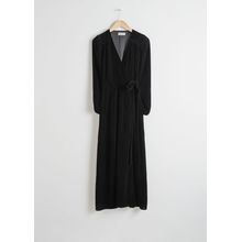 Velvet Midi Wrap Dress - Black