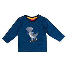 SALT AND PEPPER Baby-Jungen Langarmshirt B Longsleeve Dino Stripe, Blau (Artic Blue Melange 447), 68