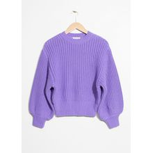 Chunky Rib Knit Sweater - Purple