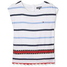 Tommy Hilfiger Mädchen T-Shirt Embellished Rayon Stripe Top S/S, Weiß (Bright White 122), 116 (Herstellergröße: 6)