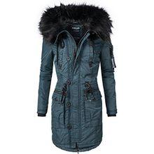 Khujo Damen Mantel Wintermantel Winterparka YM-Halle (vegan hergestellt) Blau Gr. L