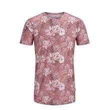 JACK & JONES Botanik-print T-shirt Herren Rot