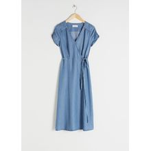 Lyocell Denim Wrap Dress - Blue