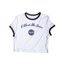 Choies Damen T-shirts mit Aufdruck I Need My Space Rundhalsausschnitt kurzarm Sommer Basic Crop Top Shirts Weiß S