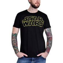 Star Wars - Krieg der Sterne Logo T-Shirt, Damen/Herren, sehr hochwertig, großer Frontdruck, schwarz