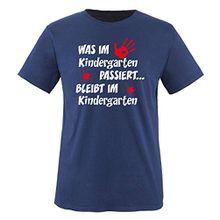 Comedy Shirts - Was im Kindergarten passiert... - Kinder T-Shirt - Navy / Weiss-Rot Gr. 98-104