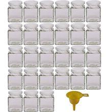 Viva Haushaltswaren 27 kleine Marmeladengläser/Gewürzgläser 106ml mit weissem Deckel